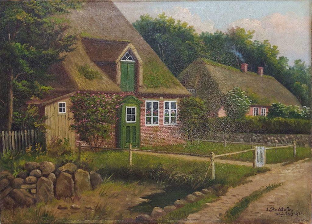 Reetdachhäuser in Oevenum auf Wyk – Föhr 1924 von J. Sockfleth