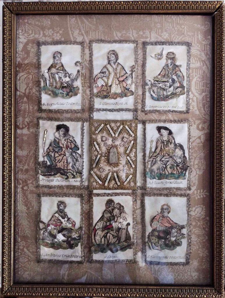 Andachtsbild, Textile Klosterarbeit, 18. Jahrhundert.